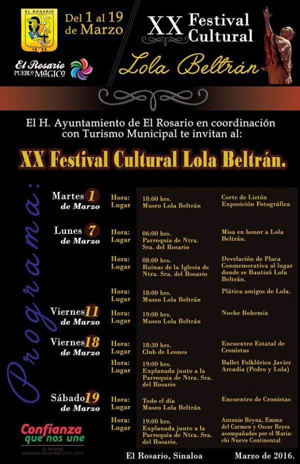 XX Festival Lola Beltrán 2016 Programa