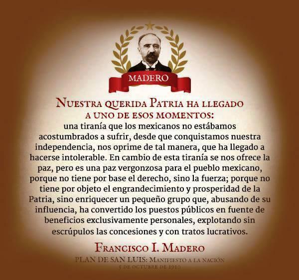 Palabras de Francisco I Madero proféticas en 2016